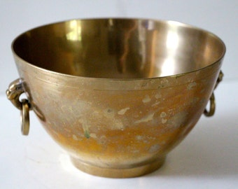 Vintage Brass Bowl with Ring Handles