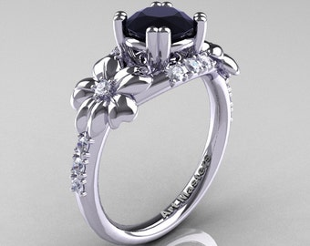 Nature Inspired 14K White Gold 1.0 Ct Black White Diamond Leaf and Vine Engagement Ring R245-14KWGDBD