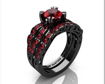 Modern Vintage 14K Black Gold 1.0 Ct Rubies Solitaire Ring Wedding Band Bridal Set R322S-14KBGR