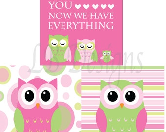 Girl Nursery Decor, Pink and Green Nursery, Girl Owl Nursery Prints, Pink Owl Print - 8x10s