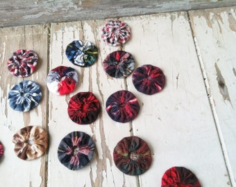 Retro Flannel Yo Yos Total of Ten - Vintage Quilting Accessory + DIY for Crafting Projects, Quilting Accessory, Preppy Plaid, Craft Fabric