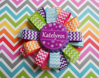 Personalized Chevron Loopy Flower Hair Bows