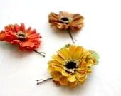 Autumn Flowers Hair  Pins. Brown, Mustard Yellow, Orange, Woodland, Bridesmaids, Wedding Hair Pins, Fall, Hair Accessories. Bridal. Set of 3