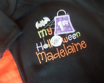 Personalized Halloween one piece bodysuit, or Halloween Shirt, My First Halloween, includes free personalization