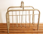 Brass Magazine Rack, Faux Bamboo, Hollywood Regency