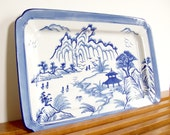 Large Blue Willow Tray, Porcelain, Blue and White, Chinoiserie