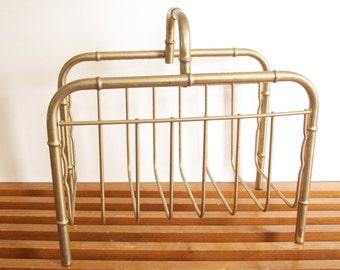 Brass Magazine Rack, Faux Bamboo, Hollywood Regency