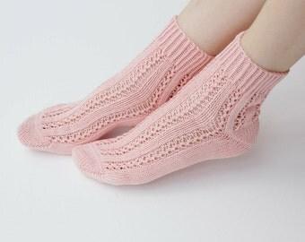 Hand knit peach cotton Socks women fishnet for her