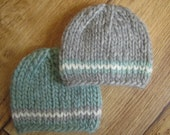 Newborn Blue and Grey Chunky Wool Knit Beanies  - Boy Twin Set - Ready to Ship Photography Prop, RTS Photo Prop