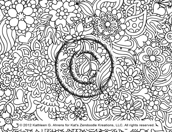 pdf download coloring page hand drawn zentangle inspired psychedelic