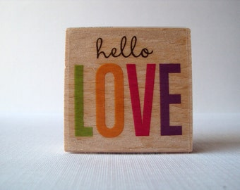Hello Love Wooden Mounted Rubber Stamping Block DIY cards, scrapbooking, tags, Invitations, Greeting Cards, and Scrapbooking