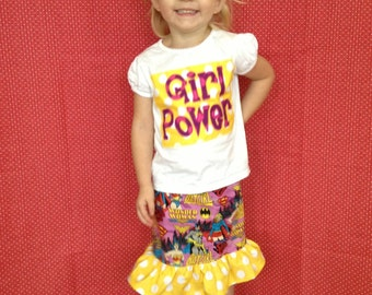 Girl Power Appliqued Top with Skirt