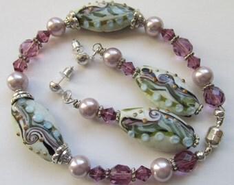 Lampwork Beaded and Pearl Bracelet Earring Set