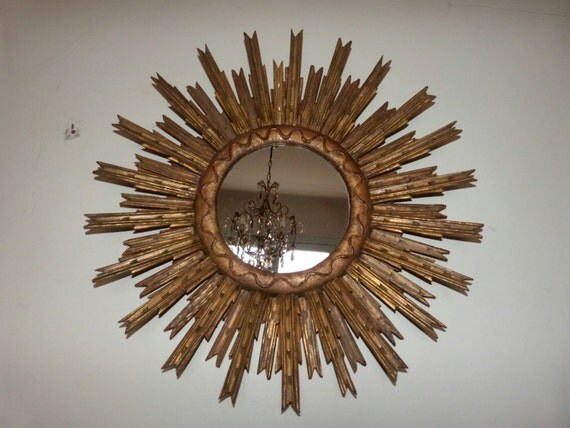 Starburst Mirror Sunburst Mirror Antique French Gilded Wooden