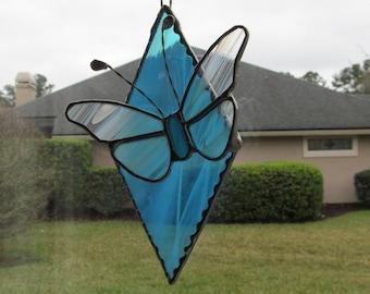 "Butterfly on Aqua Wispy Diamond - Finished size 7.25"" x 6"" - Great Gift idea"