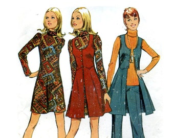 70s Long Vest, Pants and Mini Dress Vintage Sewing Pattern Roll Collar A Line Long Sleeve Dress Skirted Vest Simplicity 5186 Bust 34