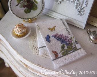 Botanical Style Fringed Tea Towel for Dollhouse, 1:12 scale.