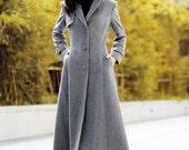 Dark Grey Elegant Coat Lapel Collar Women Wool Winter Slim Coat Long Jacket - NC485