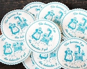 1960s Vintage Paper Coasters, Turquoise Old Fashioned Kitchen Stove Cooking Print, Set of Ten (10)