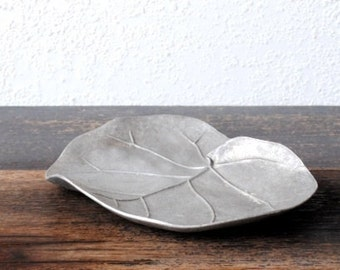 Vintage Metal Art Leaf Dish Tray, Handcrafted Unique Mid Century Modern Decor