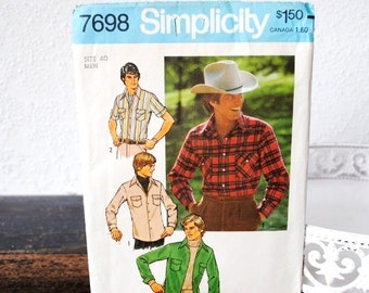 Vintage Mens Western Shirt Simplicity Pattern, Cowboy Wear 1970s Fashion Size 40