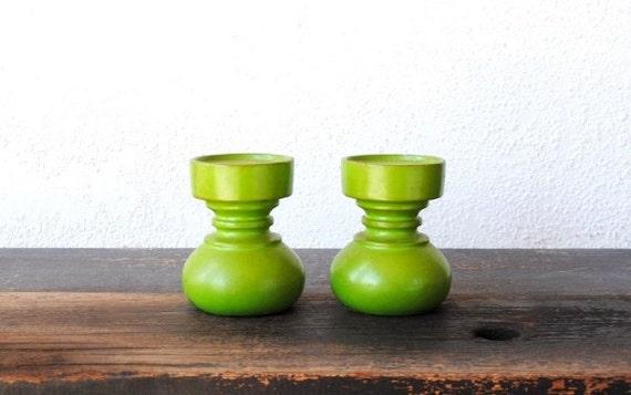 Mod Green Candlesticks Holders, Squat Lime Eames Mid Century Vintage Decor Set, Japan