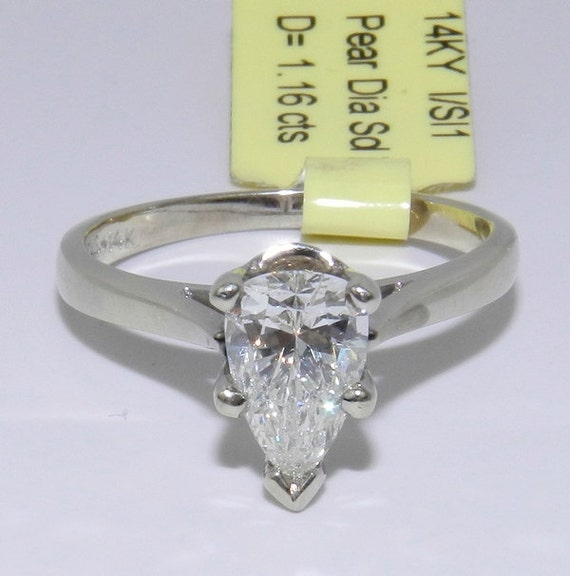 1.16 ct Pear Shape Brilliant SOLITAIRE Diamond Engagement Ring 14K White Gold Size 6.25