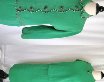 Vintage 1960s Outfit - Palio Green Wool 3 Piece Jacket Skirt Top w/ Beaded Rhinestone - Small