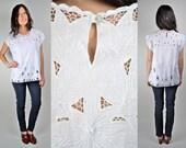 Vintage Bali Crochet White Floral Blouse