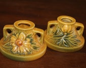Roseville Clematis Candle Holder Pair