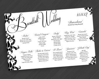 Seating Chart Poster in Any Color/Design from Shop (Shown in Damask Design in Black and White)