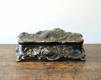 SALE Vintage Large Black And Gold Painted Art Nouveau Casket Vanity Box