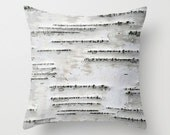 Birch Tree Bark - White, Black, Gray - Throw Pillow Cover - Earthy - BrookeRyanPhoto