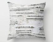 Birch Tree Bark - White, Black, Gray - Throw Pillow Cover - Earthy