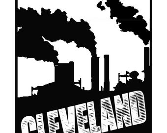 11'' x 14'' Cleveland Smoke Stacks Screenprint