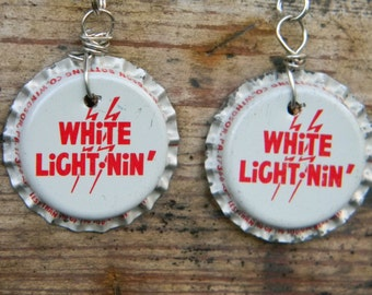 Vintage White Lightning Soda Bottlecap Earrings Christmas Valentin's Mother's Day Gift