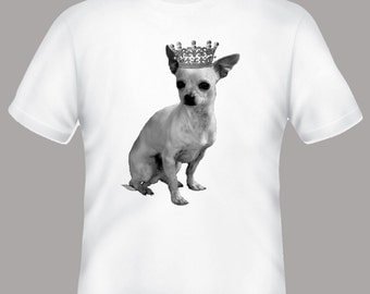 Chihuahua with Tiara Crown Illustration on Adult Tshirt  -- other tshirt color and personalization available - adult sizes S-3XL