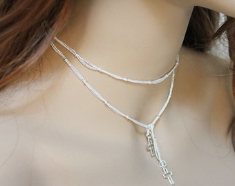 Silver Choker Necklace, Women's Bright Silver Dainty Cross Lariat Necklace, Thin Silver Religious Jewelry