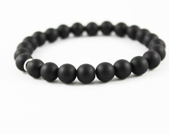 Onyx Bead Bracelet, Men's Black Matte Onyx Bracelet, Stretch Unisex Beaded Stretch Bracelet