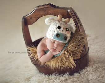 Newborn Boy Thick and Thin Cow Beanie  - Made to Order