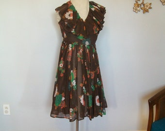 SALE 1960's Sheer Floral halter Circle Dress- Psychedelic- Novelty Print- Ruffles Ruffles(( Size Small)
