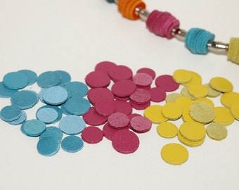 60pcs Small Leather Circles  Die Cut 10-14mm  ,Light Blue ,Magenta,Yellow Leather Circles