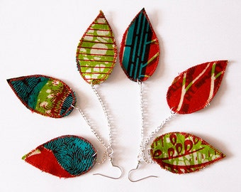 Funky African fabric earrings, funky lightweight jewelry, red green and teal, African earrings, unique artisan jewelry, fiber art earrings