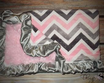 Chevron Minky, Pink Grey and white, Pink Minky, grey minky, pink blanket, baby girl blanket, ruffle blanket, soft blanket, Baby blanket
