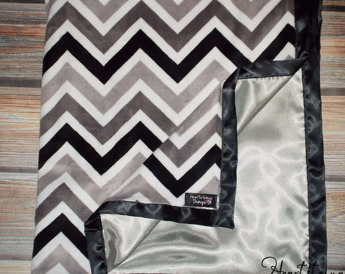 Minky blanket, Chevron Minky, black and white, black and silver, black white and grey blanket, blanket for boy