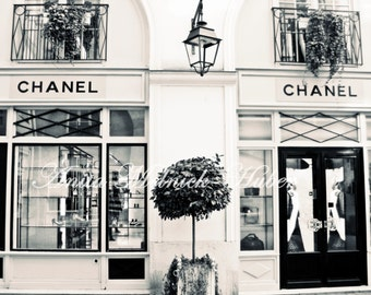 Chanel,Chanel Boutique,Fine Art ,Fashion Photography, Paris, Black & White,Vintage,Dorm Decor,Nursery,Preppy, French,Parisian, Retro,Couture