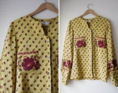 beautiful vintage VALENTINO floral mustard ROSE silk blouse top 4 38 S