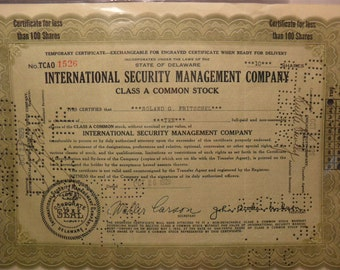 1929 Stock Certificate / Internatiional Security Management Co