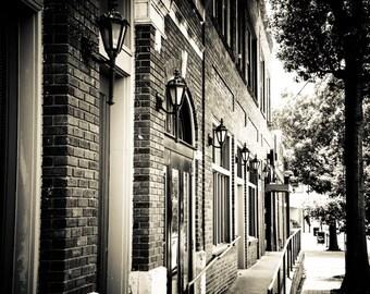 Fort Worth, Texas, Rustic, Sepia, Vintage, Brick Building - Magnolia Avenue