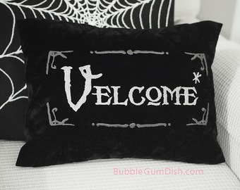 Velcome Funny Halloween Pillow Cover Vampire Welcome Greeting Embroidered Black Velvet 12 x 16